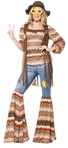 Smiffys womens Harmony Hippie Adult Sized Costume, Multi-colour, L - US Size 14-16