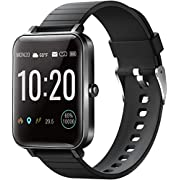 "YIRSUR Smart Watch Fitness Trackers 1.5"" Screen Smartwatch Waterproof IP68 Fitness Watch with Heart Rate Monitor Pedometer Step Counter Sleep Monitor Stopwatch for iPhone Android(Black)"