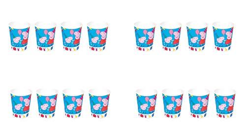 2544; Pak 16 Peppa Pig kartonnen bekers; ideaal voor feesten en verjaardagen; capaciteit 220 ml