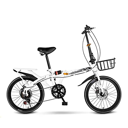 gxj Bicicleta Plegable Compacta con 7 Velocidades Y Frenos De Disco Dual Bici Plegable Marco Acero con Alta Tracción Liviano para Hombres Mujeres Y Adolescentes, Blanco(Size:20 Inch)
