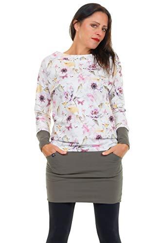 3Elfen Pullover Kleid Damen mit Taschen Cooles Langarm Kleid mit Mini Rock Sweat Shirt Kleid Bambi M