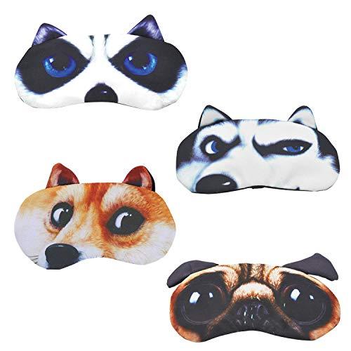 Schlafmaske Kinder Lustig Frauen - Daydream Schlafmaske Lustig für Frauen Damen Herren Kinder Mädchen (Nettes Hundeset (4 Pack))