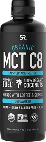 Organic MCT Oil (C8) derived from Organic Coconuts | Great in Keto Coffee, Tea, Smoothies & Salad Dressings | Non-GMO Project Verified & Vegan Certified - Unflavored (16oz)