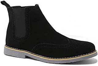 Mens Chelsea Boots Genuine Suede Dress Ankle Boots Wingtip Shoes