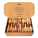 ekhõ The Wood Way! – Juego de 300 Cubiertos Desechables de Madera Sostenible – 120 tenedores + 120 cucharas + 60 cuchillos - Cubiertos para Llevar Ecológicos Biodegradables y Compostables -