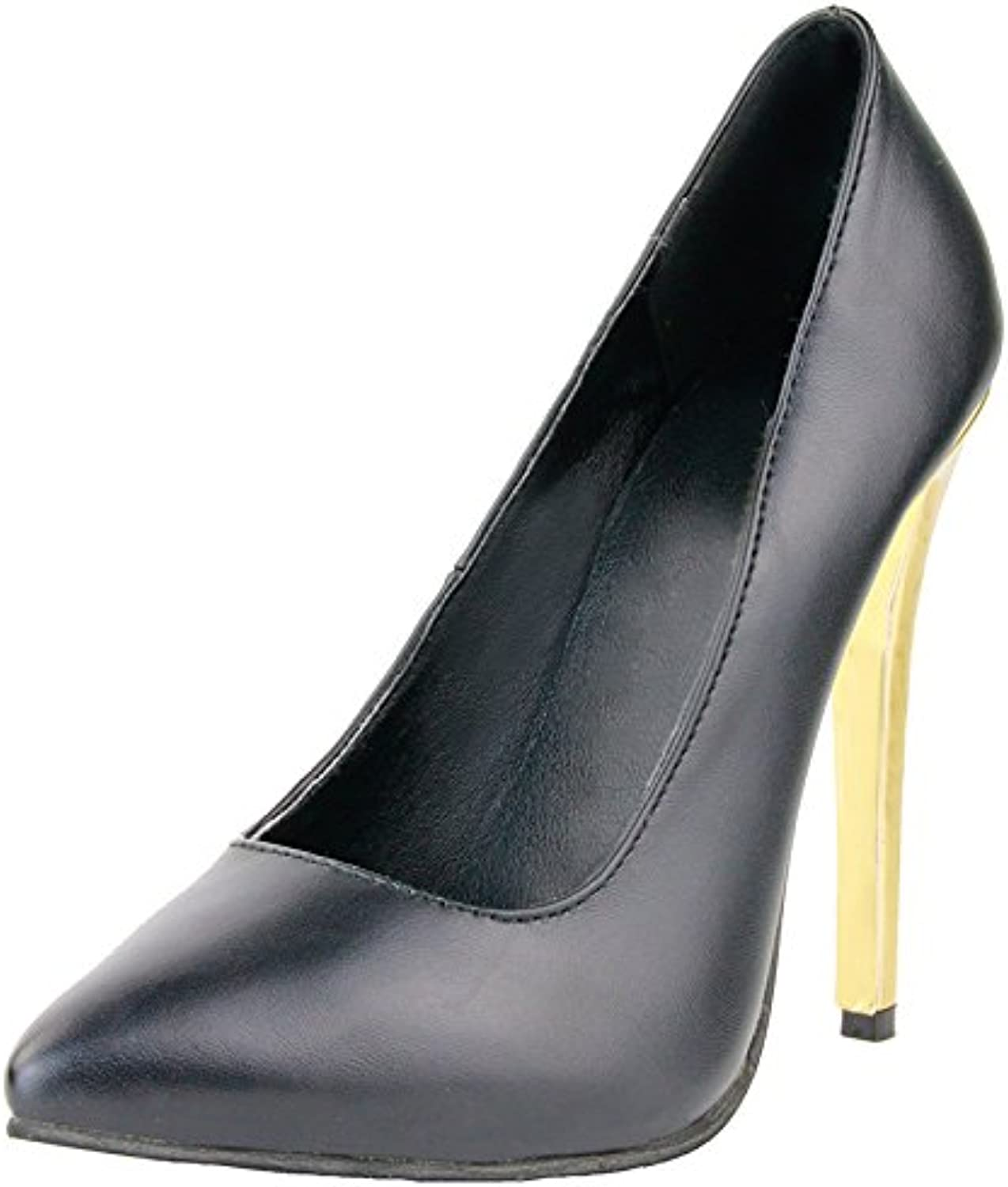 A-BUYBEA Women's Stiletto 4.33  Sky High Dress Pump shoes with Leather Shafts