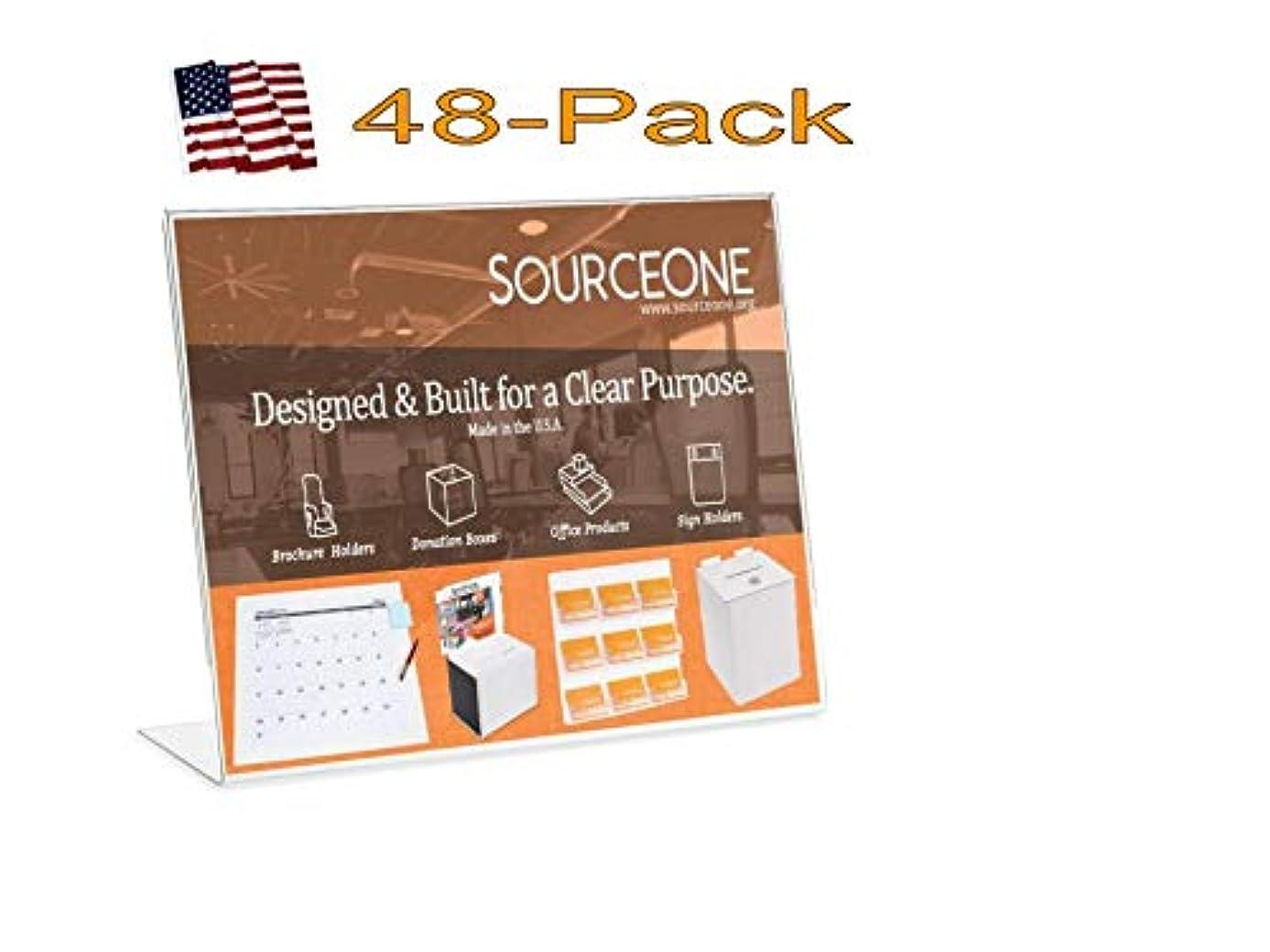 Source One 11 x 8 1/2 Slant Back Clear Acrylic Sign Holder Premium Landscape Ad Frame (48 Pack)