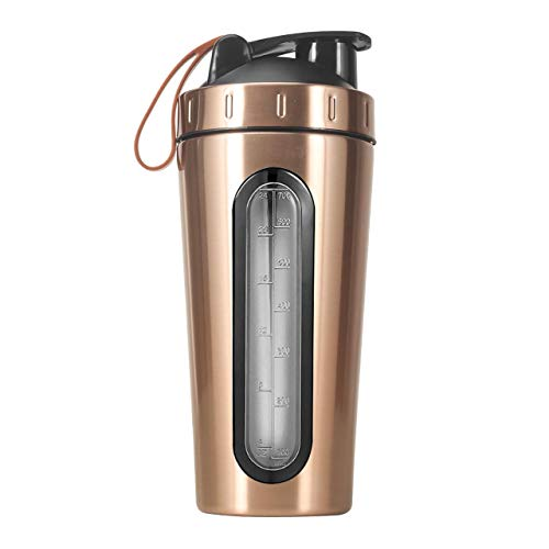 Corda Visible Window RVS Protein Shaker met Bal | Workout Fles | Workout Mixer voor Gym of Home 700ml Copper - Small Logo
