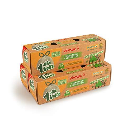 Virosac 1 Alla Volta, Sacchetti Biodegradabili 50x60, con maniglia, pretagliati, 10 pezzi per rotolo, kit da 3 rotoli