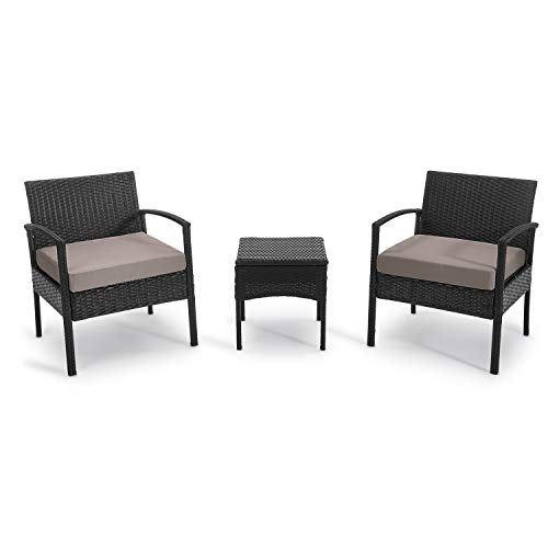 PCAFRS 3-Piece Patio Bistro Outdoor Conversation Sets, 1 Conversation Table & 2 pcs Rattan Sofas with Backrest, Soft Outdoor Garden Furniture Sets, Lawn Chair, Blue Cushion