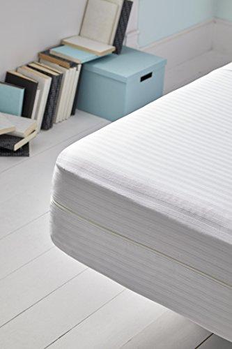 Mila Rosa Funda Colchón, Composición: Raso Labrado Cuti De 70% Algodón-3% Polyester, Blanco, 150 X 190 Cm
