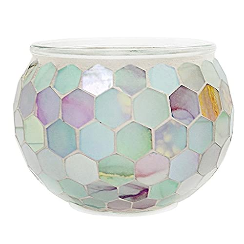 bangong Candleholder Ornament Candle Cup Bar Mosaic Glass Candlesticks Romantic Confession Candlelight Dinner Decoration 428 (Color : Assorted Color, Size : 10.8X8X7.6CM)