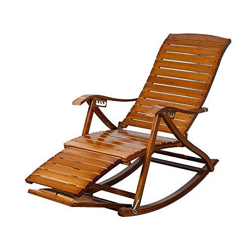 WYJW Schaukelstuhl Freizeit, mit Fußmassagerad Klappbarer Sessel für Erwachsene Teleskopfußstütze Schwerelosigkeit Bambusliege Sonnenliege