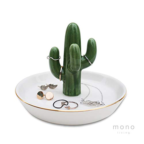 mono living Cactus Ring Holder Tower Earring Trinket Tray Dish Ceramic Jewelry Organizer Tropical Necklace Bracelet Birthday Gift for Her Mother Girlfriend Teen Daughter Girl Women Lady Labor Day