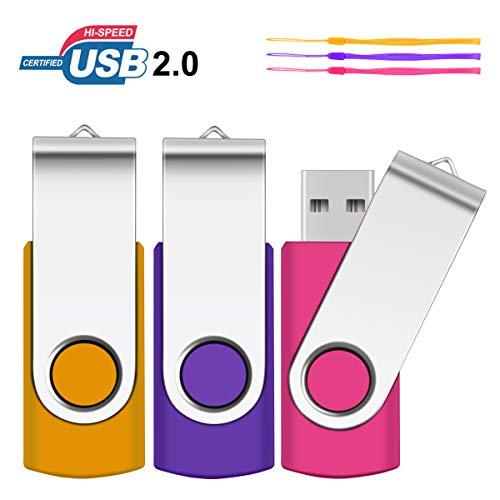 PenDrives 64GB 3 Piezas USB Flsh Drives , SRVR Portátil Memorias USB 2.0 de Memoria Dispositivos Externos con Indicador LED ,Contiene 3 cordón,(Amarillo,Púrpura y Rosa)