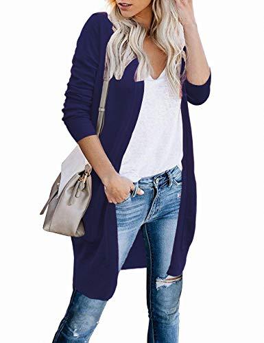 FOLUNSI Women's Open Front Pockets Knit Long Sleeve Sweater Cardigan Navy Blue S