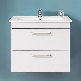 Acezanble 580x380x500mm Armario de baño Sujetado en Pared sin Pies con Dos cajones, Lavabo de Porcelana,Color Blanco