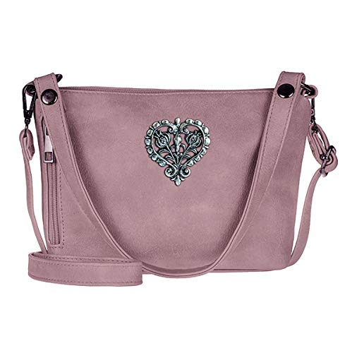 Trachten-Handtasche Dirndltasche Umhängetasche Kunst-Leder lila Beere