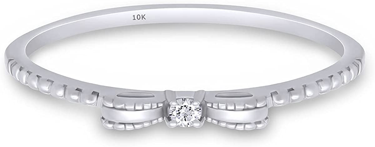 Round White Natural Diamond Accent 10k Solid Gold Bow Ribbon Beaded Band Promise Ring (I-J Color, I2-I3 Clarity)