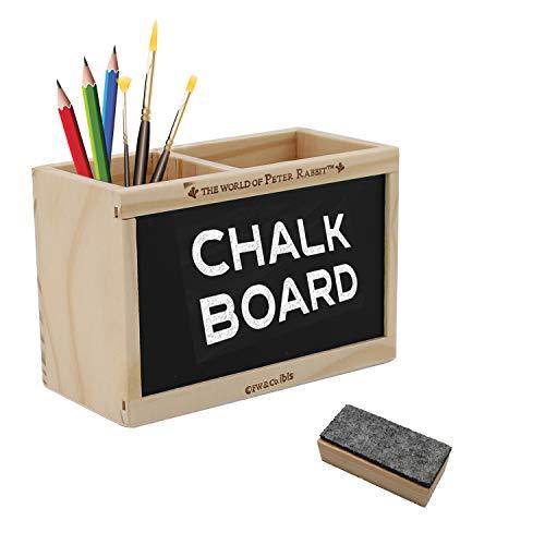 Lapicero de madera, pizarra blanca borrable, organizador de escritorio para accesorios de oficina, almacenamiento en el aula