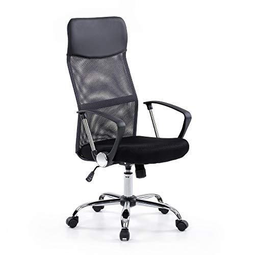 IKAYAA Sedia da ufficio Traspirante ergonomica regolabile,Sedia da Scrivania in Rete,Girevole a 360°,Sedia da ufficio con schienale alto,per computer Mobili da ufficio Sedia da studio da lavoro