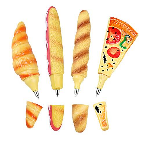 Hysagtek 4 Stück Kugelschreiber Neuheiten mit Magnet Süßer Pizza Brot Hotdog-förmig Kugelschreiber für Kühlschrank Memo Schulbüro Kinder Geschenk