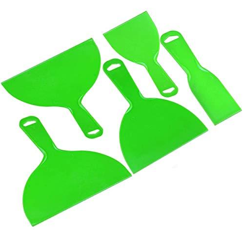 5 cuchillos de masilla de plástico, juego de cuchillos de relleno para uso general, herramienta de raspadores de pintura flexible para spackling, parches, calcomanías, papel pintado, hornear (verde)