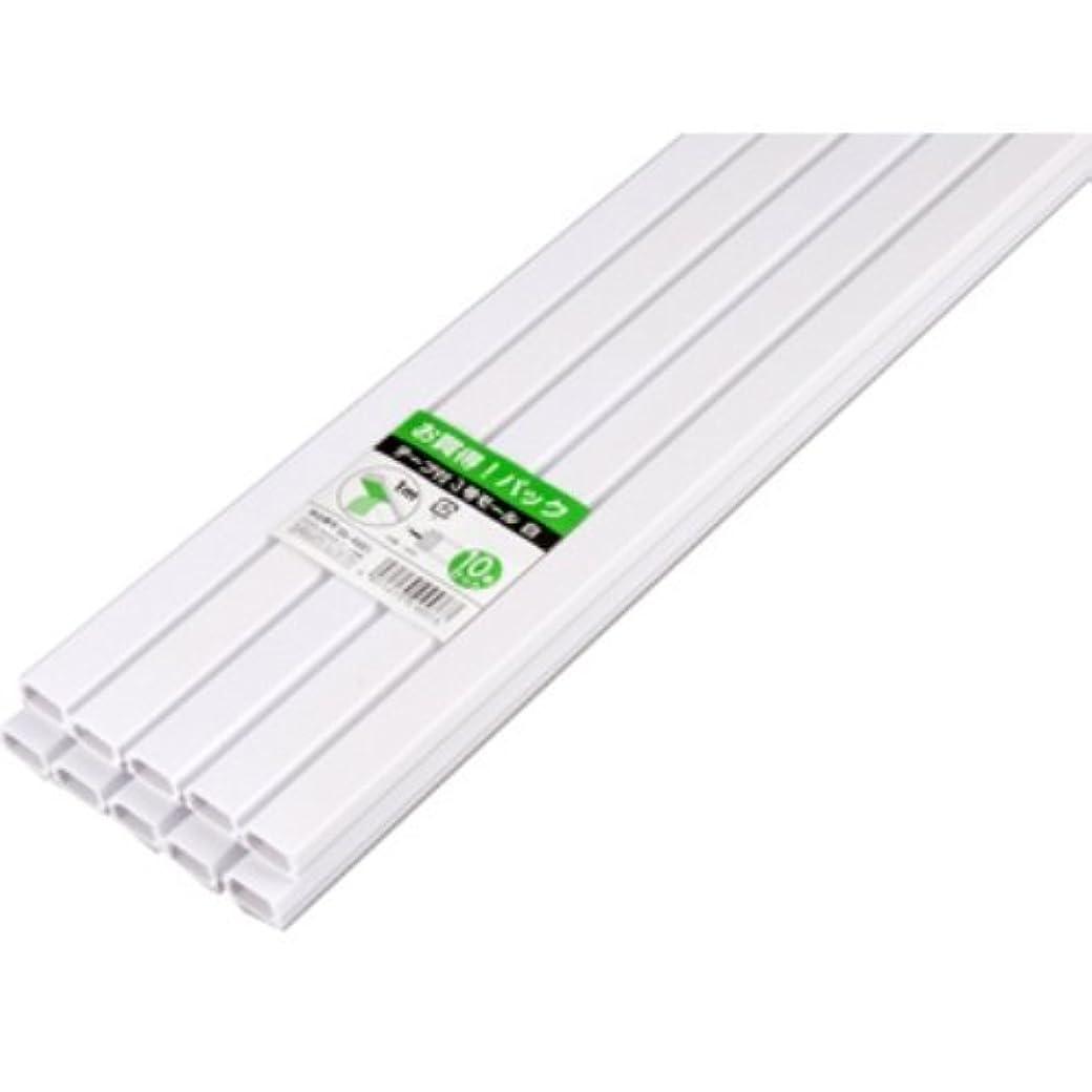 伝記クラッチ純度テープ付きモール 3号 白 1m×10本パック [品番]00-4601