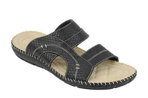 Sandalias de cuero con estampado de imitación para hombre, puntera abierta, verano Slip en mulas tamaño 6 7 8 9 10 11