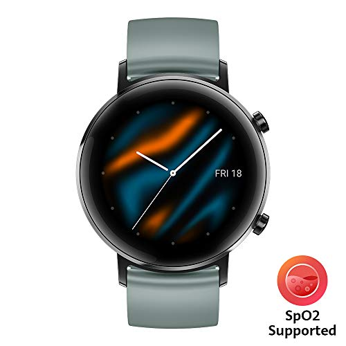 HUAWEI Watch GT 2 (42 mm) Smart Watch, 1.2 Inch AMOLED Display, 1 Week Battery Life, GPS, 3D Glass Screen, Real-time Heart Rate Monitoring, International Model, No Warranty- Lake Cyan