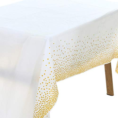 UltraOutlet 6 Packs Rose Gold Dots Tablecloth for Rectangular Tables, 54 x 108 Rectangle Disposable Table Covers for Wedding Parties, Bridal Showers, Birthday, Baby Showers, Christmas
