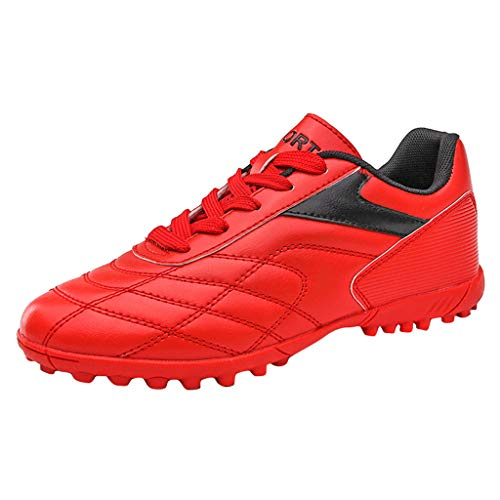 Zapatillas de Fútbol para Hombre Training PAOLIAN Botas de Fútbol Adolescentes Adultos Piel PU Zapatos de Deporte para Niños Sala con Tacos Spike Calzado de fútbol Mujer de Caucho (43 EU, Rojo)