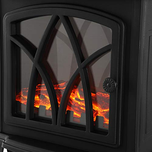 NETTA Electric Fireplace Stove Heater 2000W with Flame Effect,Portable Log Wood Burner Effect.White