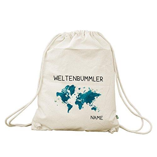 Herz & Heim® Baumwoll Turnbeutel für Weltenbummler mit dem Wunschnamen bedruckt