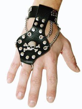 Bracelet Punk avec une chaîne Bracelet gothique simili cuir et métal avec anneau pour majeur bijoux deguisement