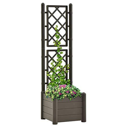 Tidyard Jardinera con Enrejado Arriate con Enrejado Planta Flores Maceta para Exterior Terraza Balcón Ventanas Maceta Jardinera PP Gris Antracita 43x43x142 cm