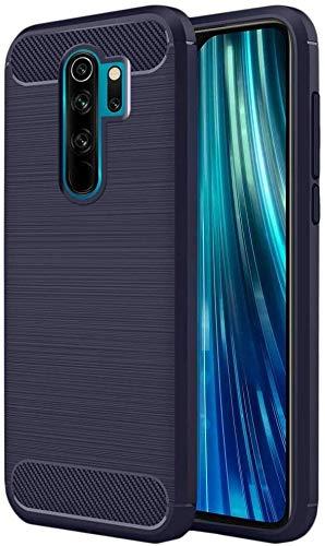 Coovertify Funda Fibra de Carbono Azul Xiaomi Redmi Note 8 Pro, Carcasa Azul TPU Gel Silicona Flexible Textura Efecto Fibra de Carbono para Xiaomi Redmi Note 8 Pro (6,53