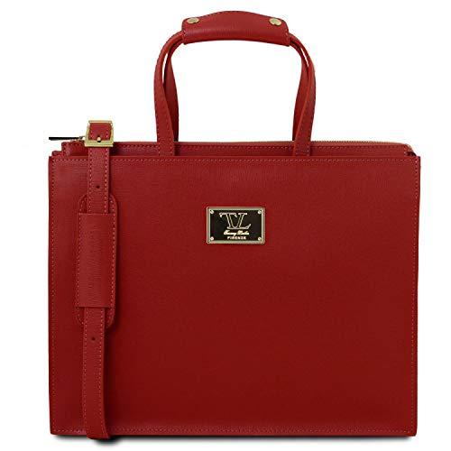 Tuscany Leather Palermo Cartella in pelle Saffiano da donna 3 scomparti Rosso