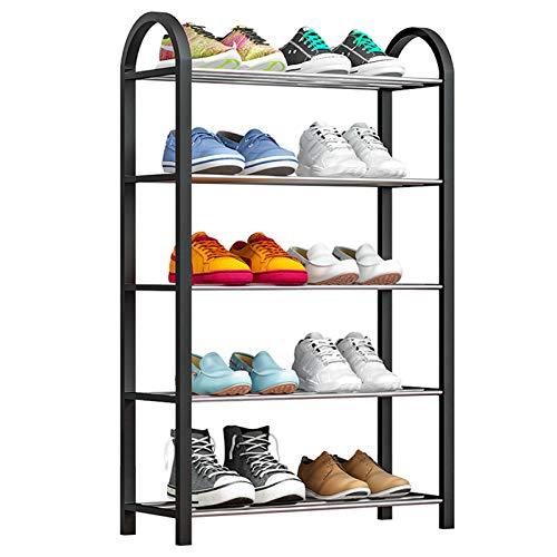 Zapatero Multifuncional 5 Capas de 10 Pares apilables de Zapatos Rack de Resina de Madera para Metales de Almacenamiento de pie Libre Uso Amplio (Color : Black, Size : 42x19x71cm)
