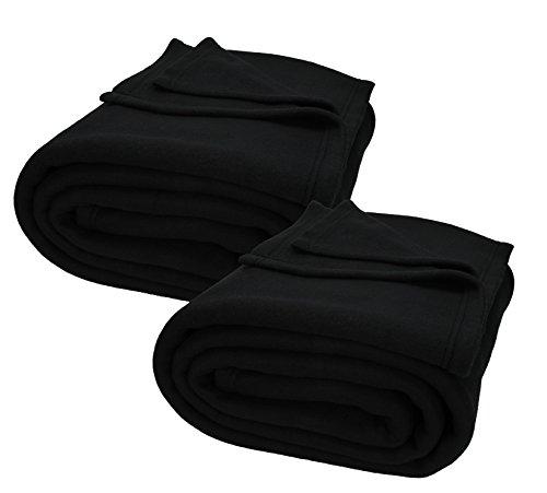 Betz 2 Stück Jumbo Fleecedecken Kuscheldecken in XXL Größe 220x240 cm Farbe schwarz