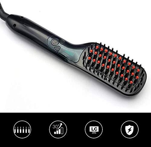 Hammer Brosses à cheveux ionique en céramique Lisseur Brosse for les soins des cheveux avec Anti Scald Fonction affichage LED Arrêt automatique et automatique Température de verrouillage Noir Comb, te