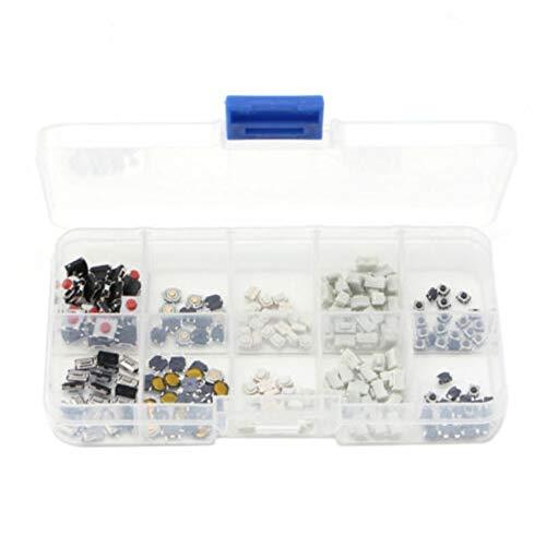 Rouku 250 Stück taktiler Druckknopfschalter Mikroschalter 10 Modelle für Auto-Fernbedienung Knopfschalter Kit Set Schlüsselschalter (Mehrfarben)