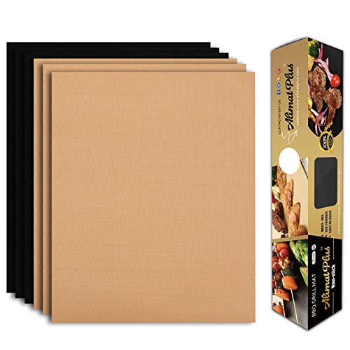 Alimat PluS Grill Mat Set of 6 - BBQ Grill Mats Nonstick Reusable - Heavy Duty 1.5 oz/Sheet, Easy-Clean, Works on Electric Grill, Gas, Charcoal, Oven - 15.75 x 13 Inch, Black and Copper
