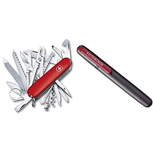 Victorinox Taschenmesser Swiss Champ (33 Funktionen, Kombizange, Stecknadel, Zange, Schere) rot & Dual-Messerschärfer, Tragbar, Schleifstein für Grobschliff, Keramikplättchen für Feinschliff