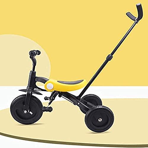 LINZI Trikes 3 en 1 Triciclo para niños para niños y niña Triciclos Balance Bicicleta Bicicleta Plegable Título de niño con Padres Manillar por 1-6 años Niños Caminando 3 Ruedas Bicicleta, Amarillo