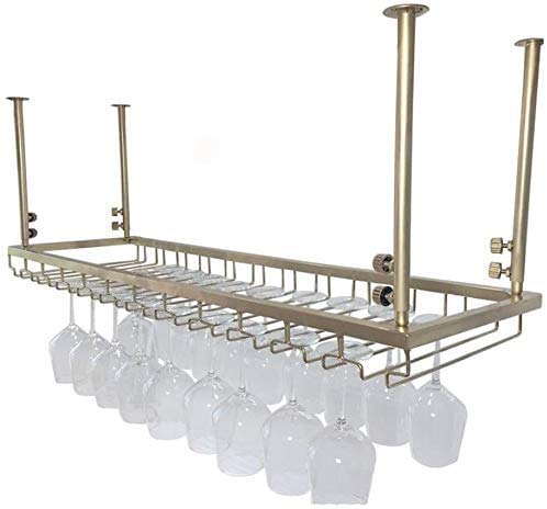 COLiJOL Soporte para Vino Red Wine Rack Bar Wine Rack M de Copa de Vino Colgante Retro Copas M de Copa de Vino Tinto Al Revés Colgadores de Vino Alenamiento,el 120 * 30Cm,el 120 * 30Cm
