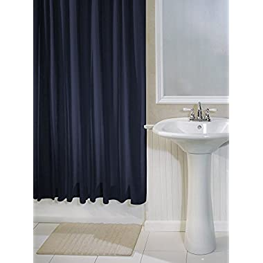 InterDesign York Hotel Fabric Shower Curtain, Long, 72 x 84, Navy Blue