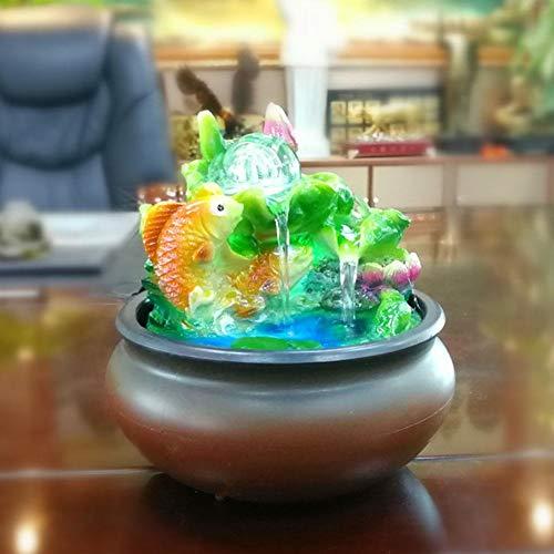 FOTABPYTI Simlug Desktop-Brunnen-Landschaft, Mini-Desktop-Brunnen Feng Shui Lucky Fish Home Desktop-Dekoration (EU-Stecker 220-240 V) für das Home Office Hotel Restaurant , EIN tolles Geschenk