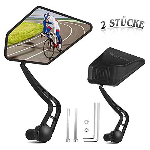 AmzKoi Fahrradspiegel 2 Stücke, Fahrrad Rückspiegel für Lenker E-Bike 360° Drehbar Fahrrad Spiegel Lenkerspiegel für 17.4-22mm Innendurchmesser Fahrrad Lenker Ebike Rennräder Mountainbikes
