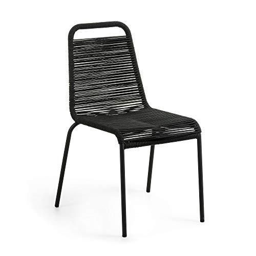Kave Home - Silla de Comedor Lambton Negra de Cuerda de poliéster y Patas de Acero en Negro para Interior y Exterior